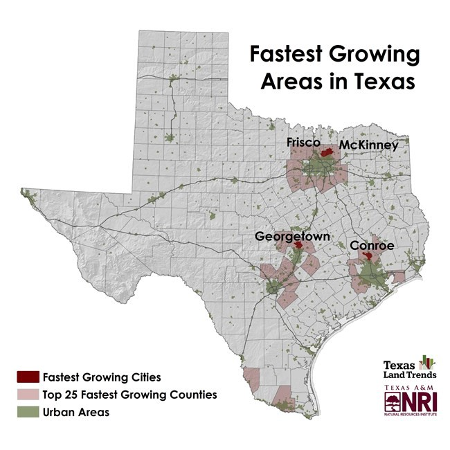 Map Of Texas Frisco.Map Of The Month Bright Lights And Big Cities Urban Growth In Texas