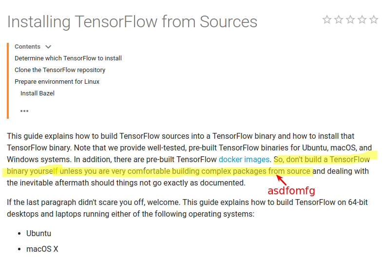 Building TensorFlow from source for SSE/AVX/FMA instructions: worth