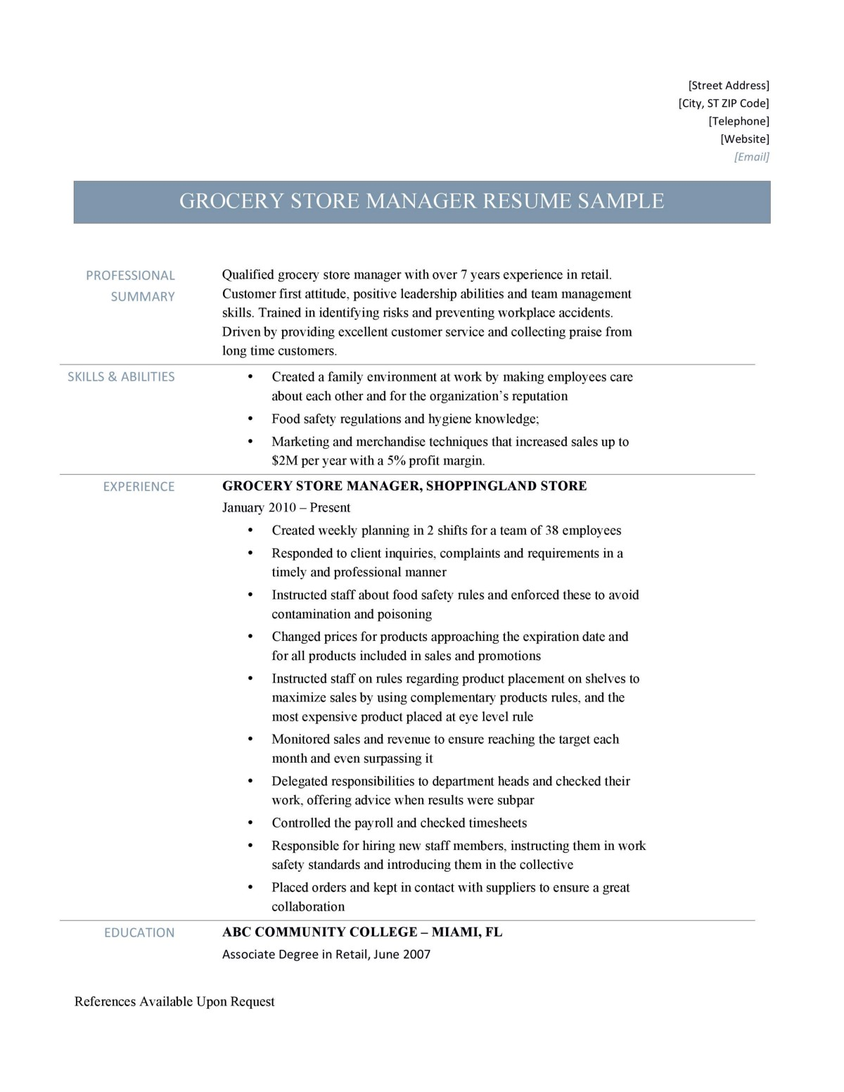 Grocery Store Manager Resume Samples By Online Resume Builders
