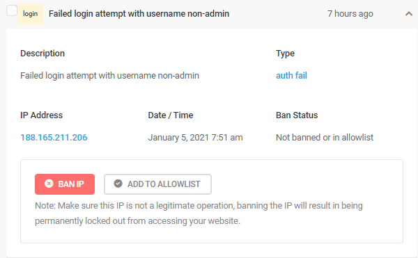 Screenshot of a failed login attempt showing the IP address and date and time.
