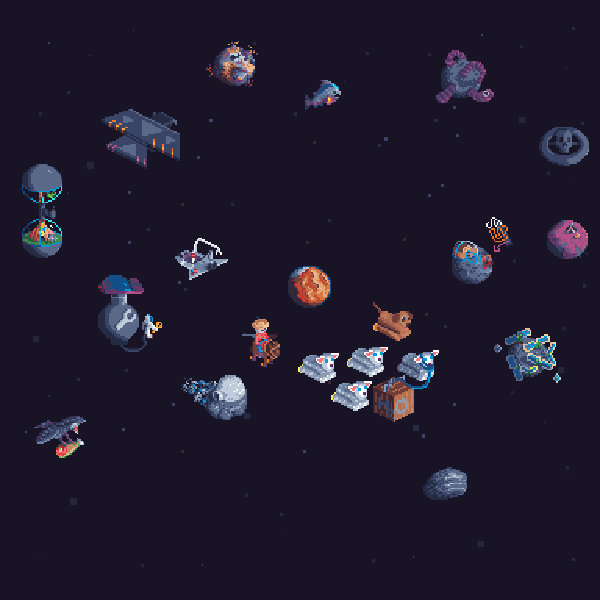 an outer space collage of pixel art