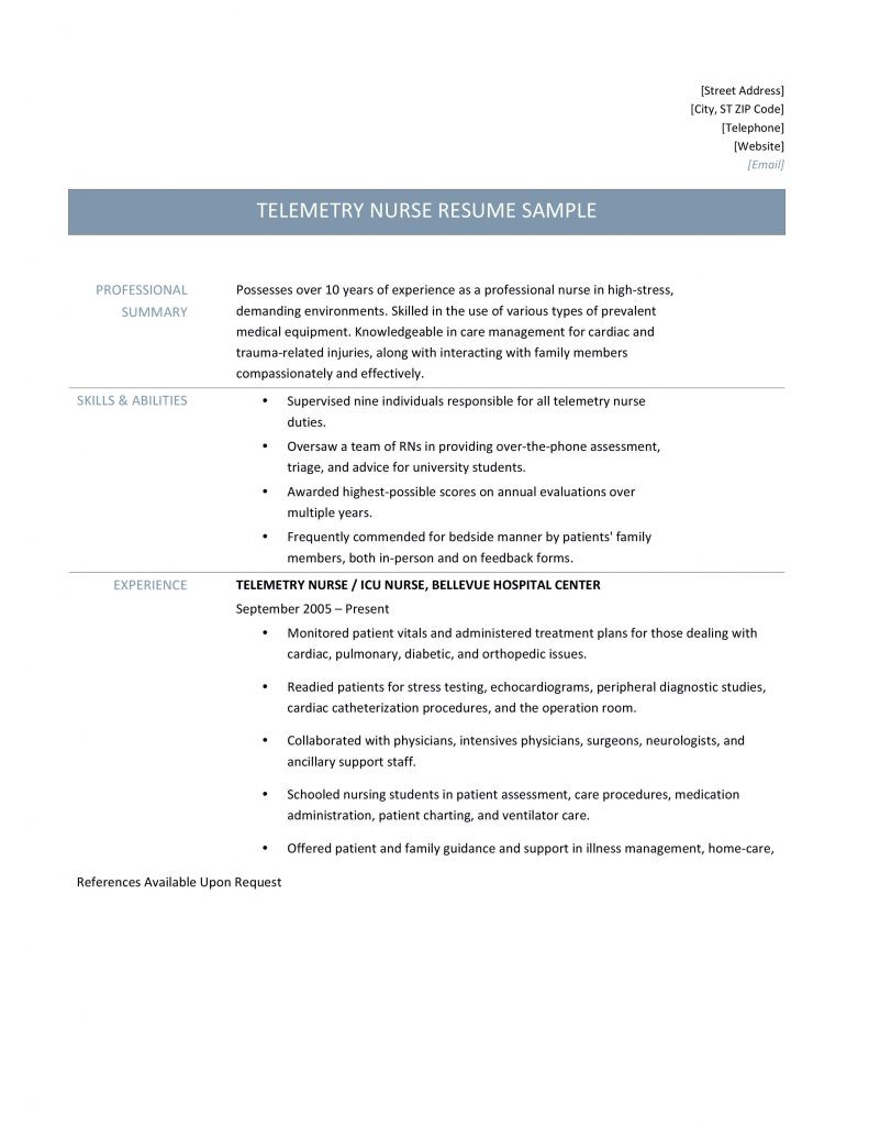 Telemetry Nurse Resume Samples Tips And Templates