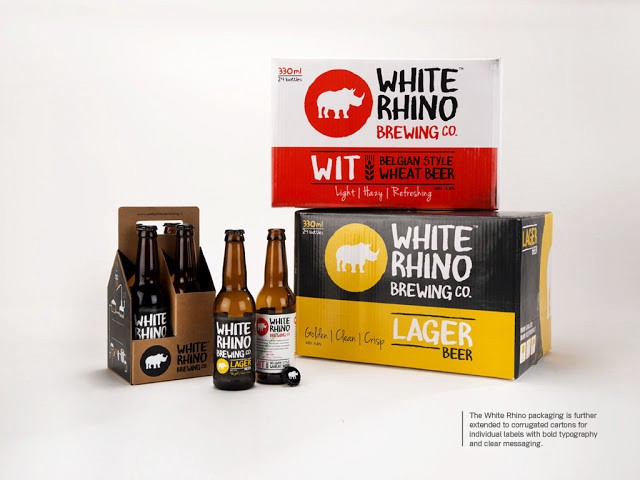 Logo and Product Packaging Design — White Rhino Brewing Co