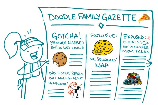 "Illustration of ""Doodle Family Gazette"" with clip art"