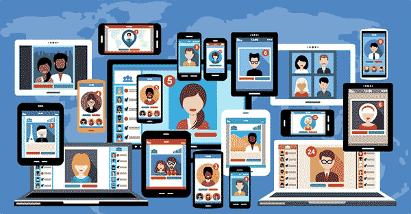A graphic depicting many people interacting using digital communications methods.