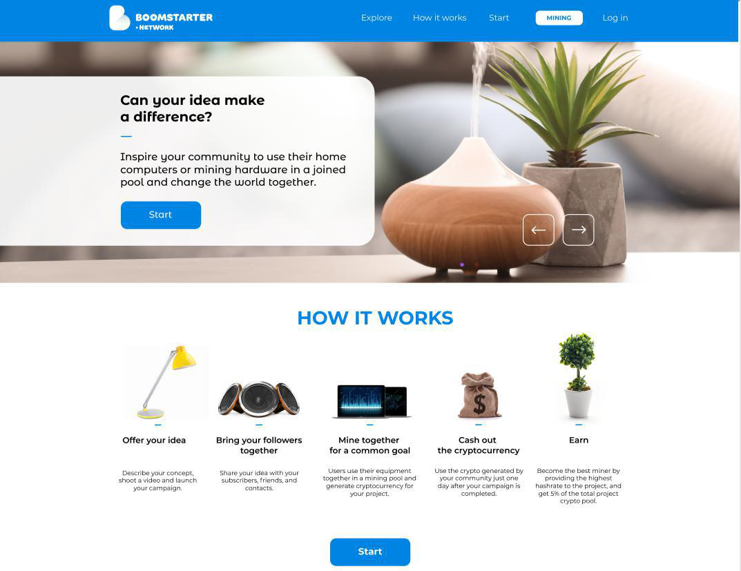 Look and feel of Boomstarter Network's blockchain crowdfunding