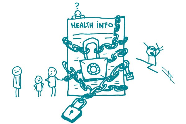 Illustration of health information locked up with a chain surrounded by people