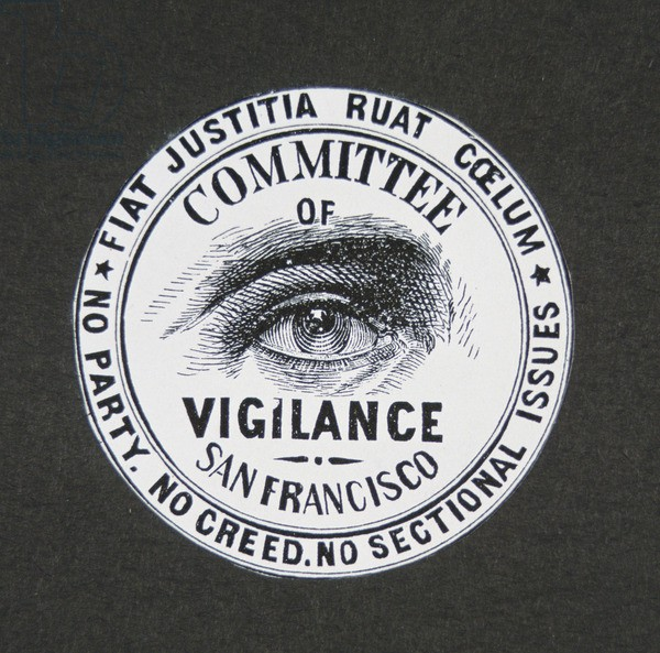 "The symbol of the committee of vigilance, an all seeing eye with ""committee of vigilance San Francisco"" and mottos."