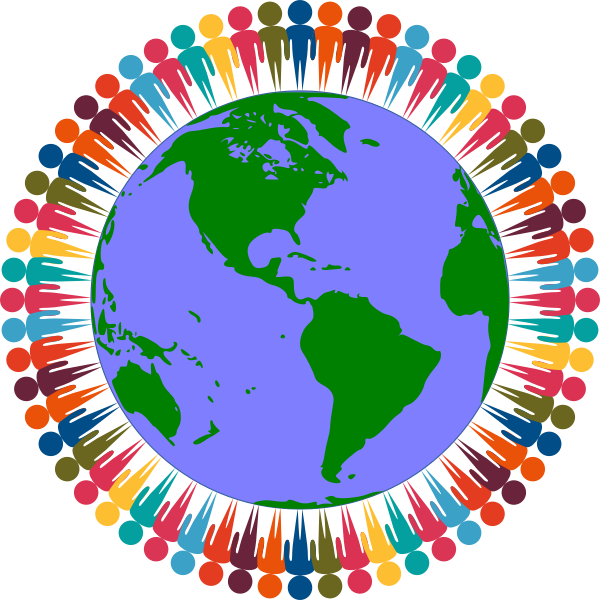 graphic of a globe with multicoloured people standing around it