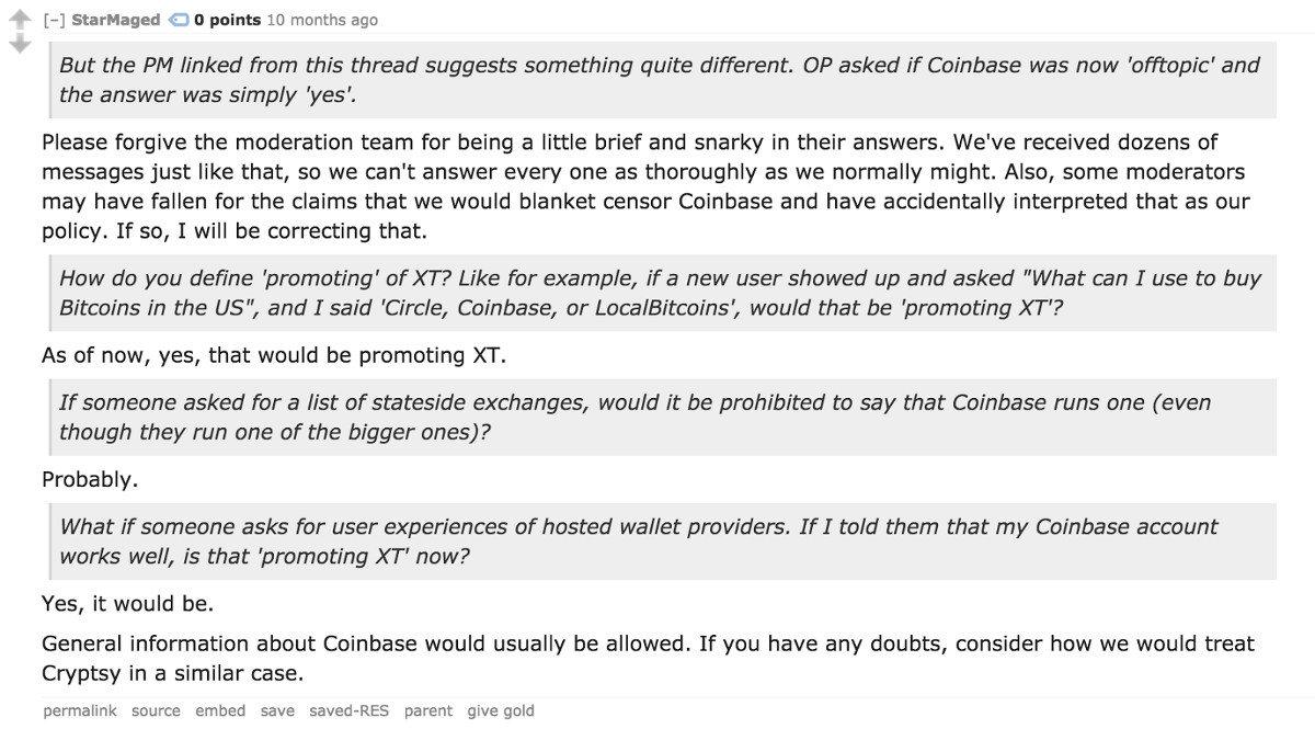 Theymos Made Good On His Earlier Threats (archive) To Remove Coinbase From  Bitcoin,