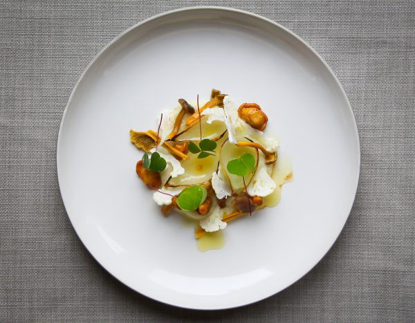 Chanterelles With Cauliflower Onions And Pickled Funnel