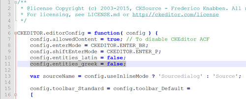 How to prevent HTML encoding of Greek characters in the