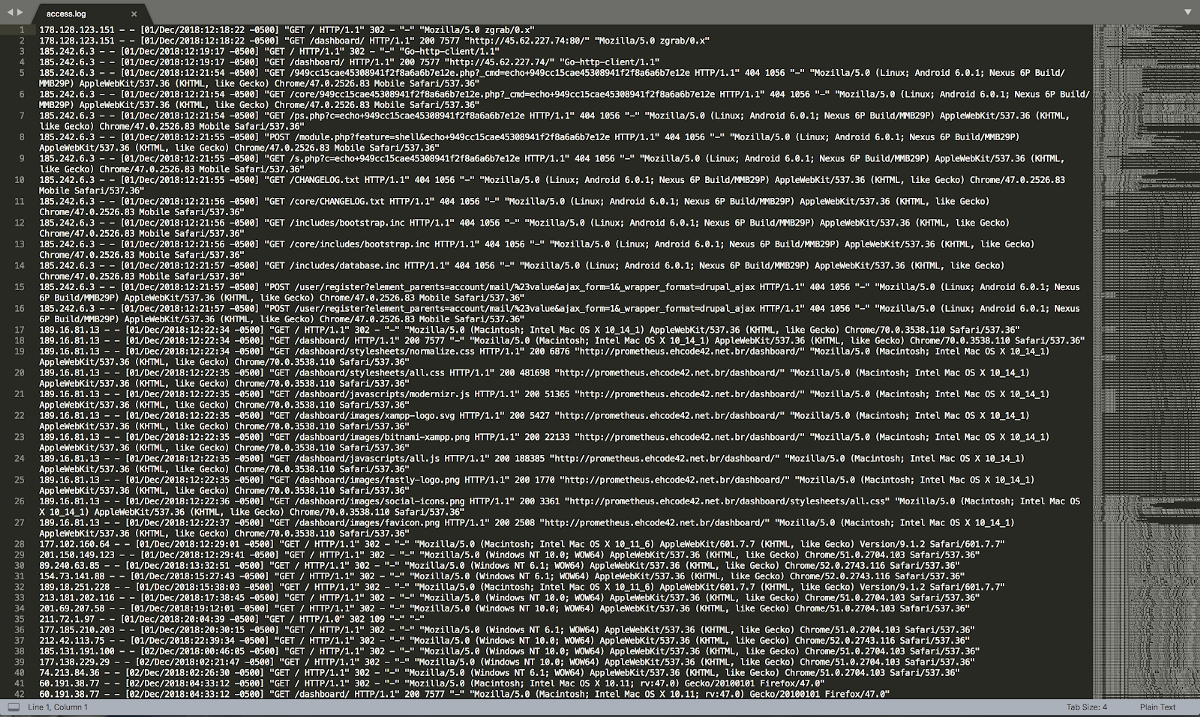Apache log analysis with Sublime Text 3