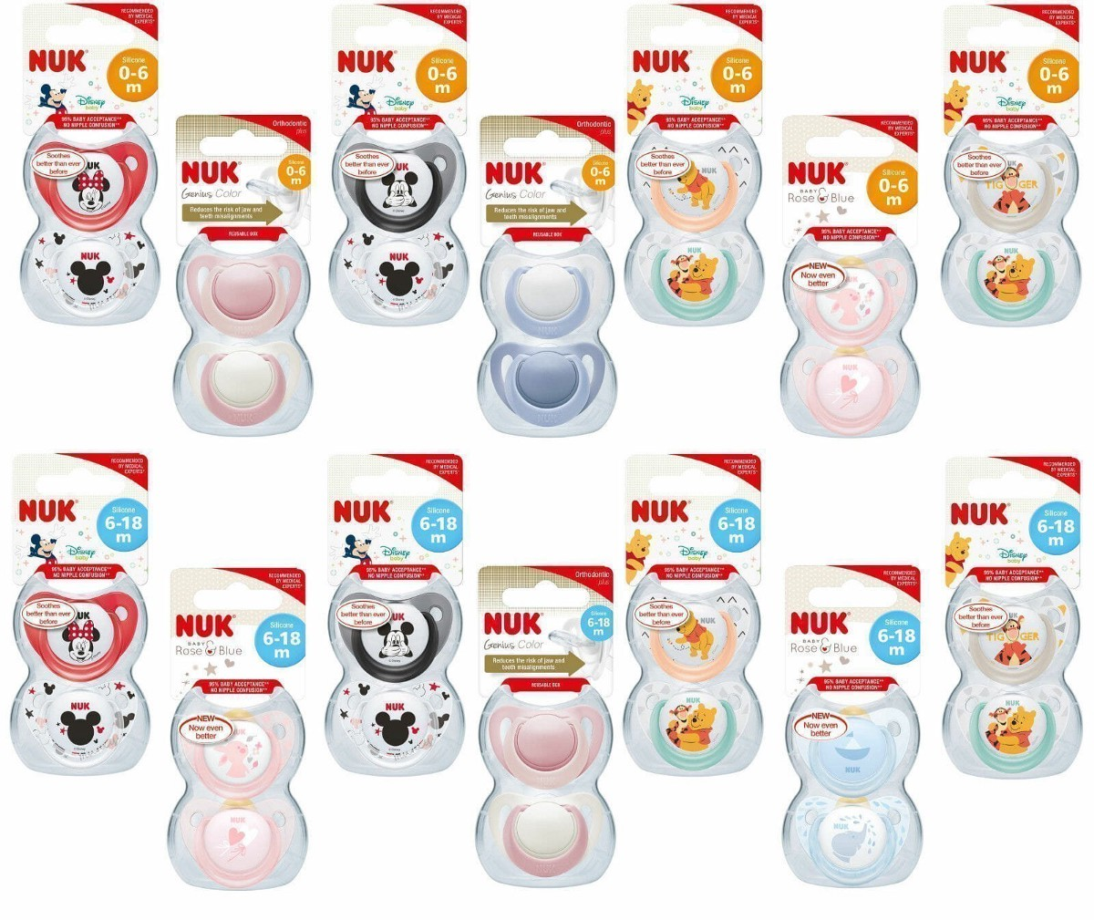 NUK Winnie the Pooh Silicone Soothers 2pk 0-6 Months colour //design may vary