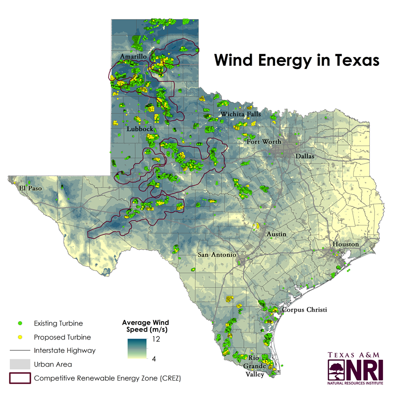 Map Of Texas Natural Resources.Map Of The Month Wind Energy In Texas Texas Land Trends Medium