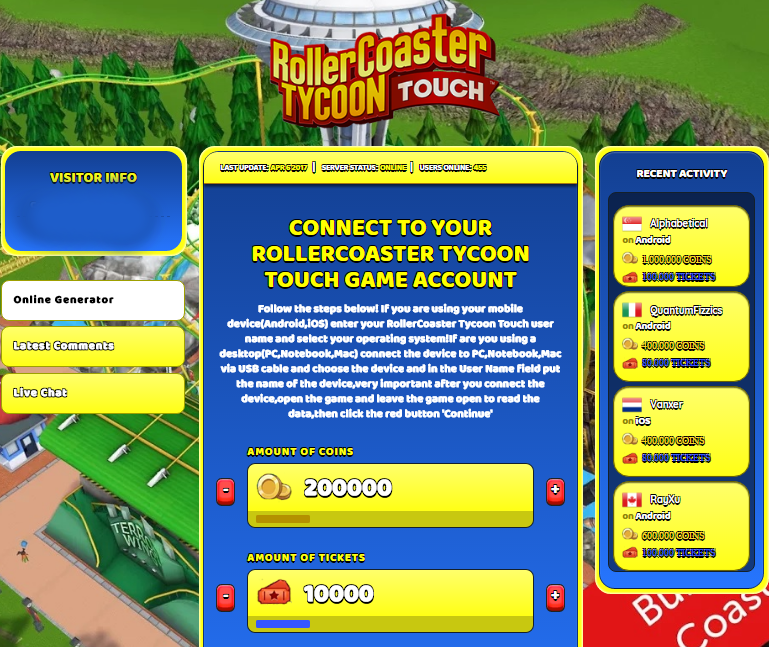RollerCoaster Tycoon Touch Hack Cheat Online Coins, Tickets