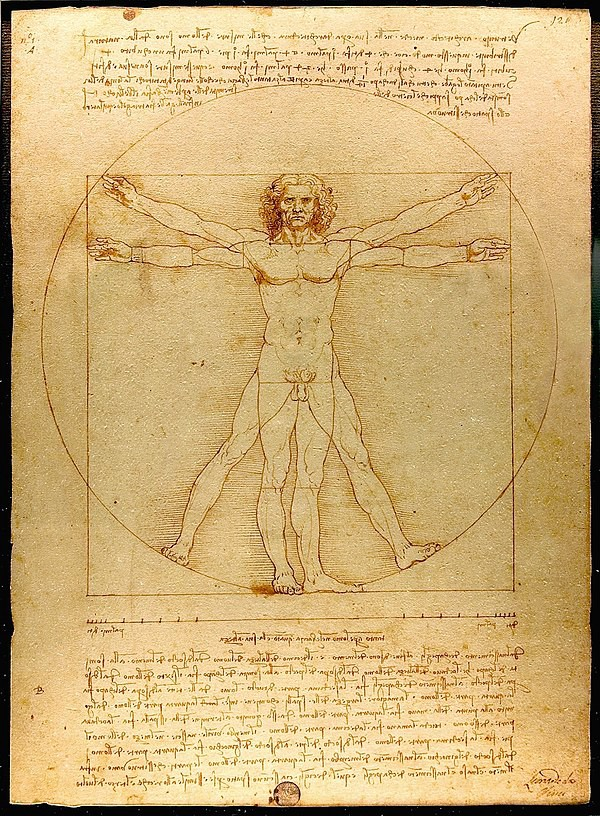 Leonardo da Vinci — Vitruvian Man — reproduction by Luc Viatour