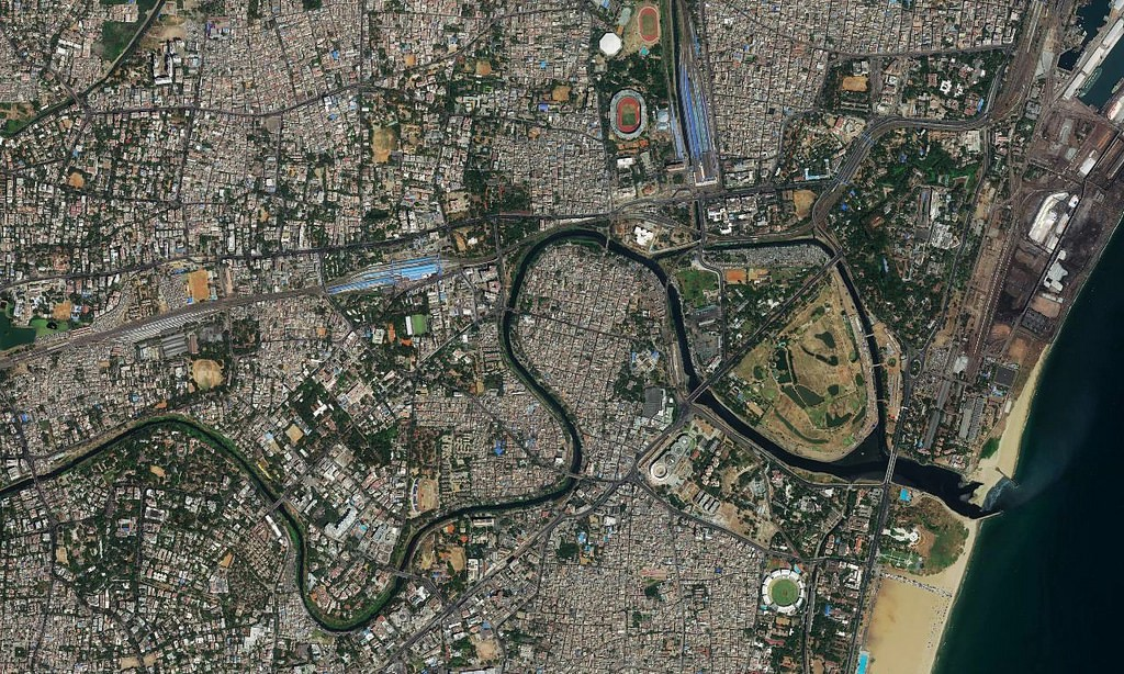 Chennai Satellite Map New satellite imagery for cities across India   Points of interest