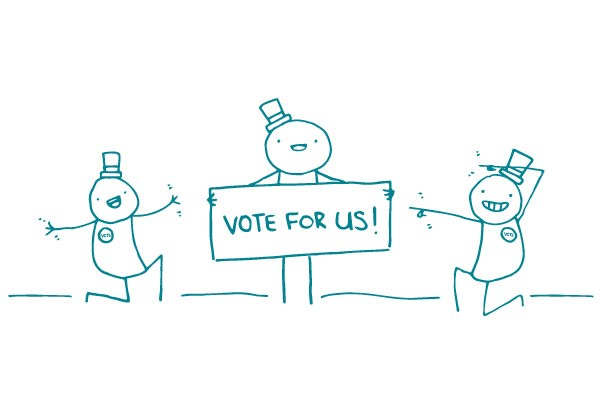 "Illustration of stick figure holding a sign that says ""Vote For Us!"""