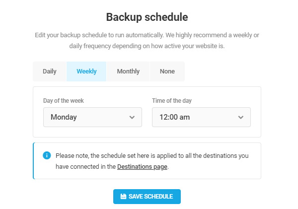 Screenshot of the backup schedules you can choose.