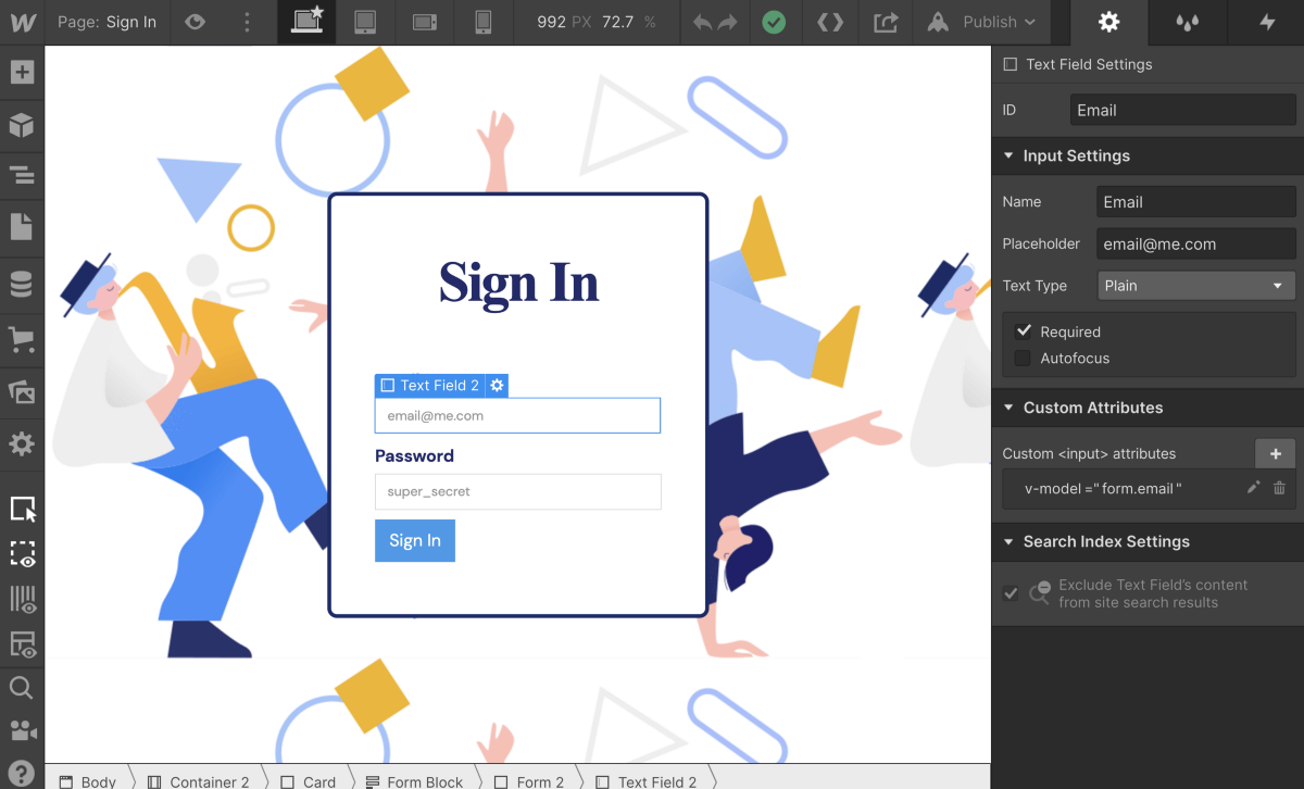Setting up User Profiles and Authentication on Webflow