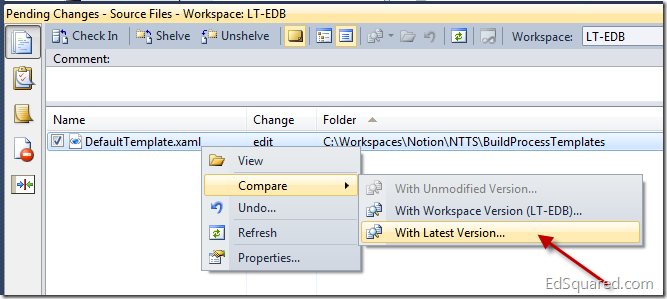 Comparing with the Latest Version in the Pending Changes Window