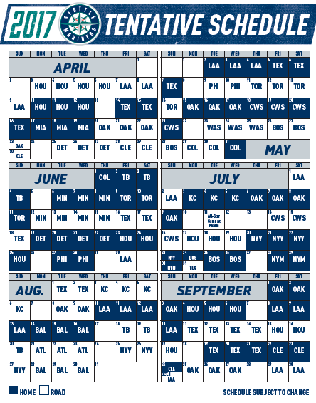 image about Seattle Mariners Printable Schedule referred to as Mariners toward open up 2017 year within just Houston - Mariners Musings