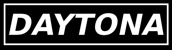 """A black and white icon that simply reads """"Daytona""""."""