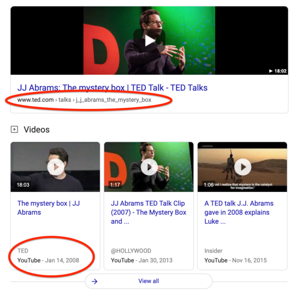 Image of a Google result page, that shows the difference between a Youtube and TED page.