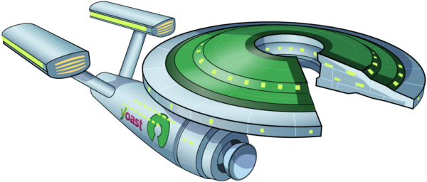 illustration of space ship with the name Yoast on the side