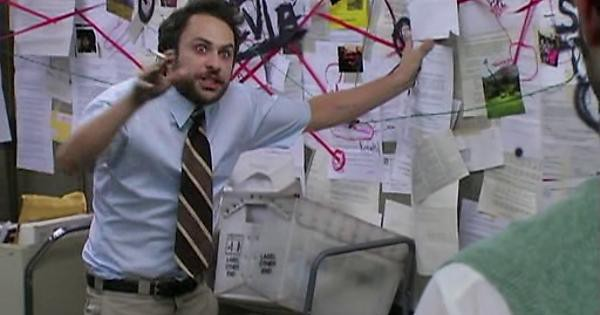 Pepe silvia meme from It's always sunny in Philadelphia, in which a character frantically describes a workplace conspiracy.