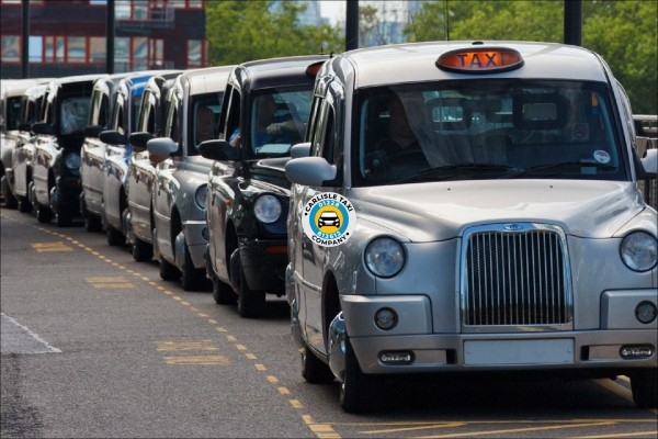 Taxis are available at the taxi rank in Carlisle. These taxis in the picture are waiting at the Train station rank