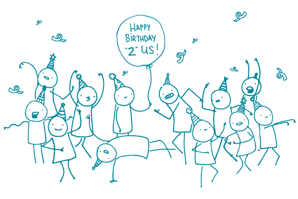 """Illustration of doodles having a party with a balloon that says """"Happy Birthday '2' us!"""""""