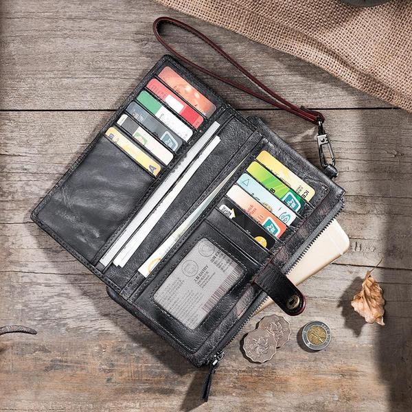 2e552f603915 The dark gray color long wallet can go well with all type of outfits.  Especially, if you are a biker and looking for a versatile color leather  wallet, ...
