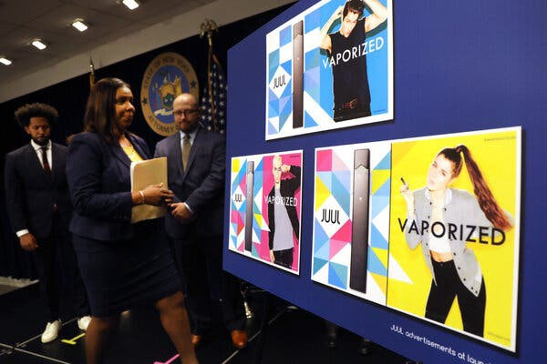 New York Attorney General Letitia James displays Juul ads that critics believe were aimed at young people.