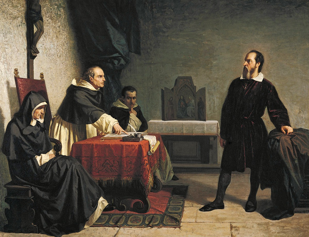 Cristiano Banti's 1857 painting showing a defiant Galileo facing the Roman Inquisition