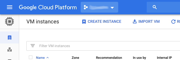 "GCP Console inset to show the ""+Create Instance"" button on the VM Instances page"