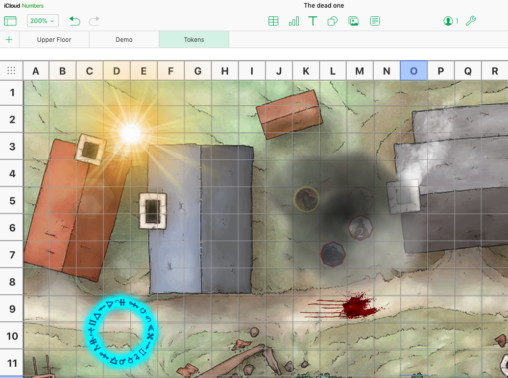 iCloud Numbers as Virtual Tabletop for Play by Post Roleplaying