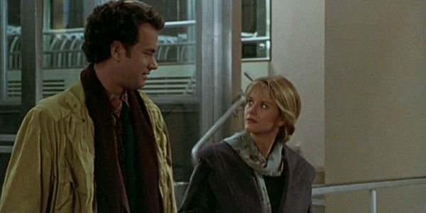 "Still of Tom Hanks and Meg Ryan leaving the Empire State Building in ""Sleepless in Seattle"""