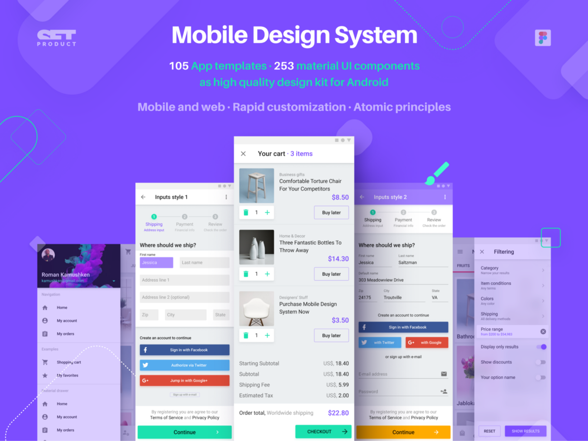 Figma Android Kit with mobile templates