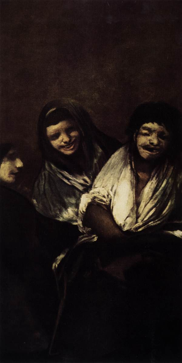 Two women and two men cackle for some unknown reason, probably in a tavern or inn (Francisco Goya, Black Paintings)