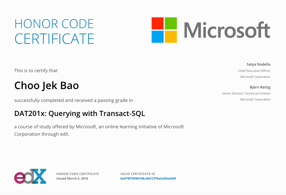 edX Microsoft: DAT201x Querying with Transaction-SQL