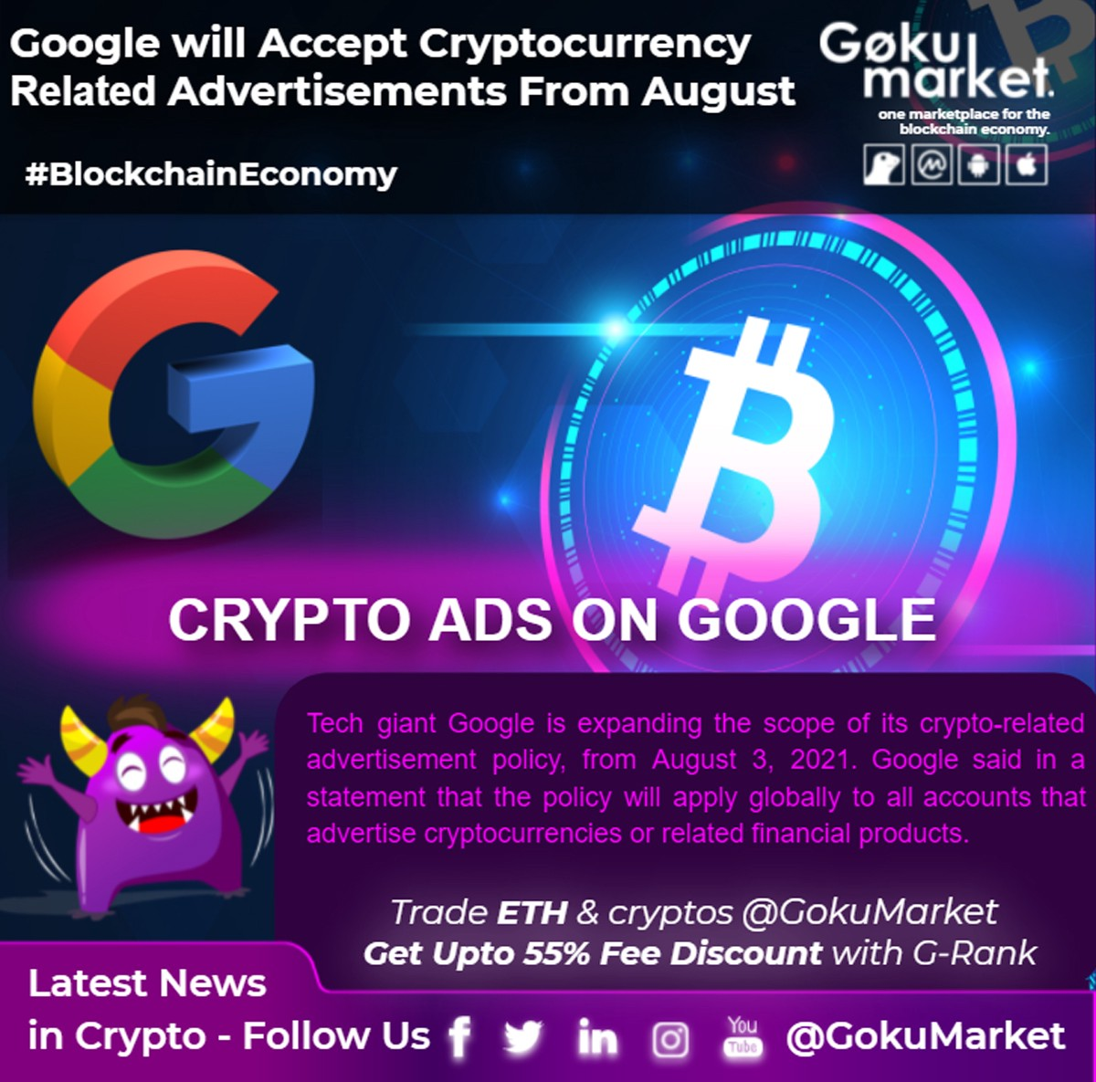 Google will accept cryptocurrency #exchanges & wallets targeting advertisements from August