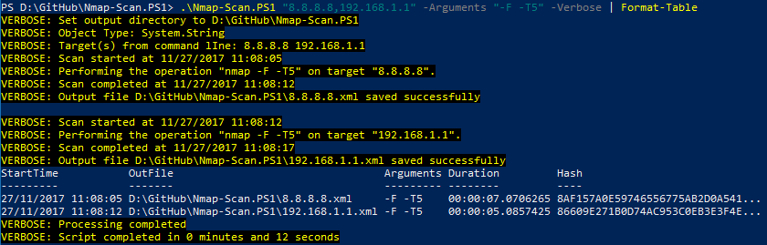 Using Powershell to programmatically run nmap scans