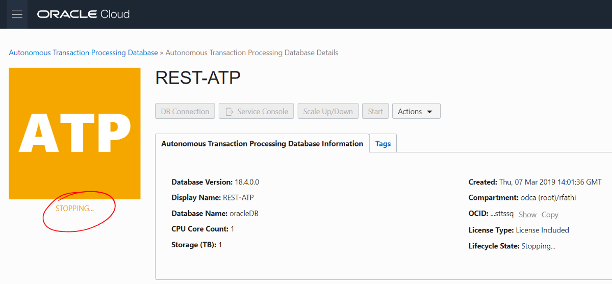 REST APIs — to easily manage an Autonomous Database in