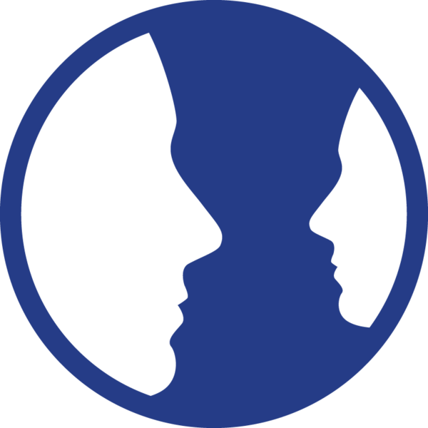 The magnified minority icon: a pair of faces facing one another in profile, one much smaller than the other.