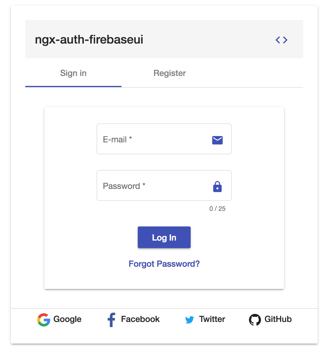 Angular Material User Interface for firebase authentication with ngx