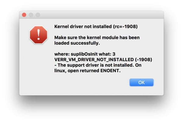 "Solving VirtualBox ""kernel driver not installed (rc=-1908"