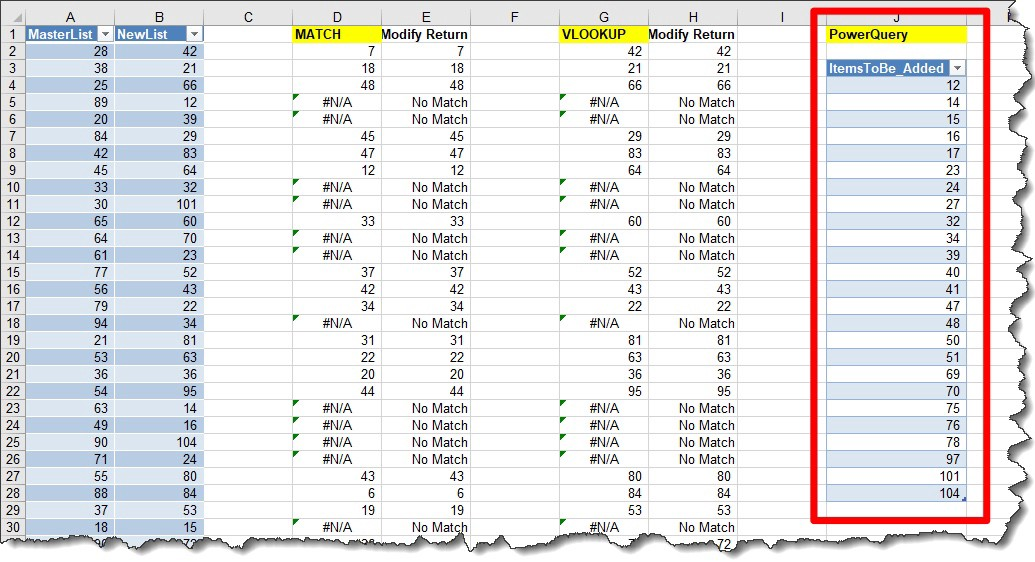 MS Excel — Use #PowerQuery to Compare Two Lists