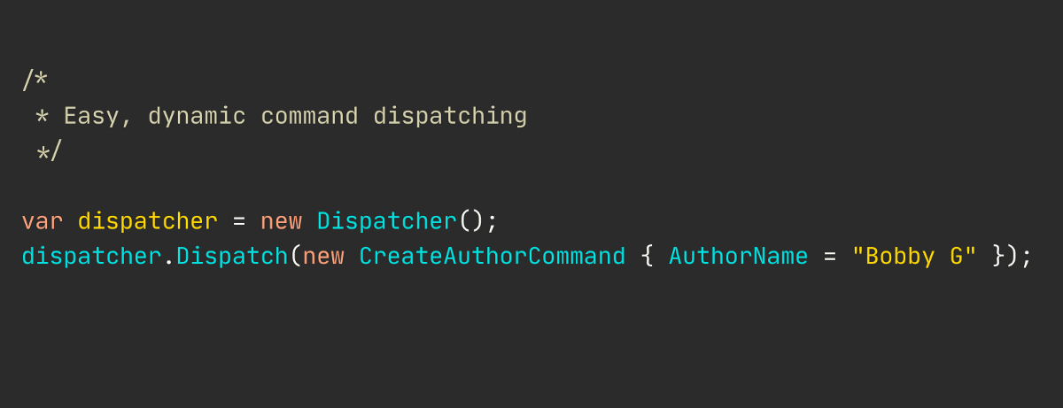 Dynamic command dispatching in C#